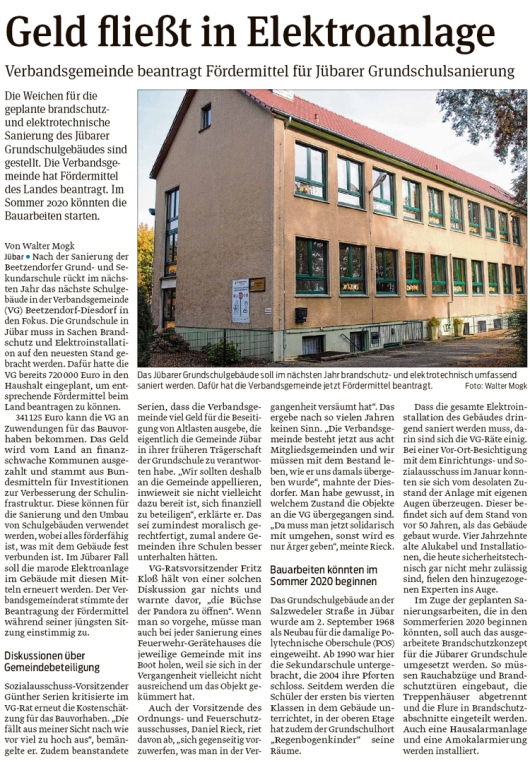 20191024 Volksstimme - Jübar - Fördermittel für Grundschulsanierung beantragt (Walter Mogk)