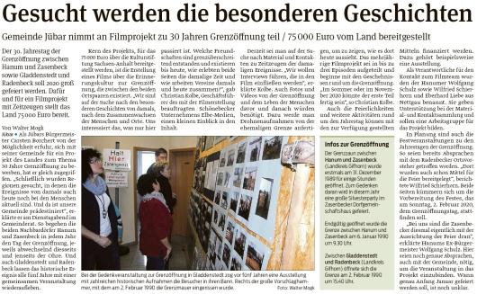 20191101 Volksstimme - Gemeinde Jübar - Filmprojekt zur Grenzöffnung (Walter Mogk)