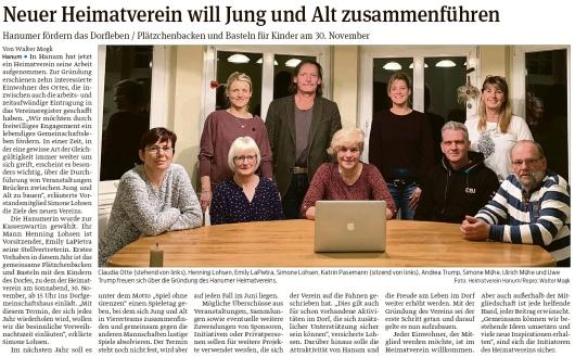 20191115 Volksstimme - Hanum - Heimatverein ist gegründet (Walter Mogk)