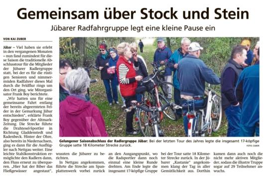 20191111 Altmark Zeitung - Jübar - Jübarer Radfahrgruppe auf Jahresabschlusstour (Kai Zuber)