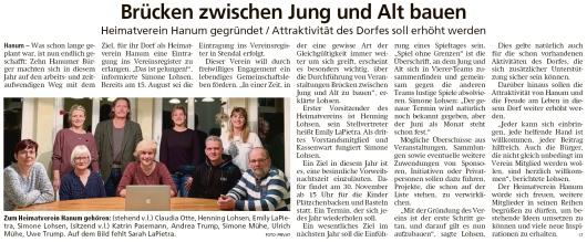 20191106 Altmark Zeitung - Hanum - Heimatverein wird gegründet (Christian Reuter)