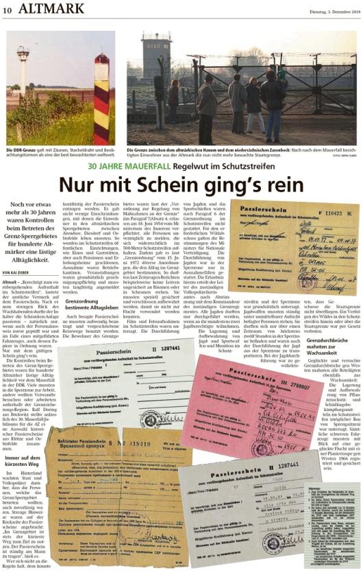 20191203 Altmark Zeitung - Hanum - 30 Jahre Mauerfall (Kai Zuber)