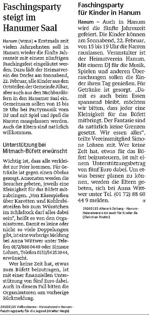 20200115 Altmark Zeitung/Volksstimme - Hanum - Heimatverein ist auch für Kinder da (Christian Reuter/Walter Mogk)