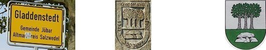 Ortschild und Wappen Gladdenstedt