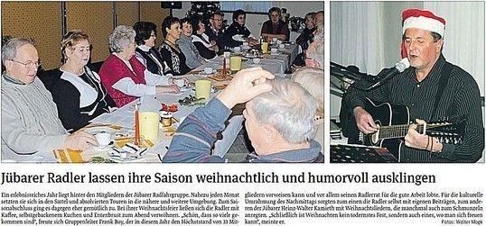 Weihnachtsfeier der Jübarer Radlergruppe 2012