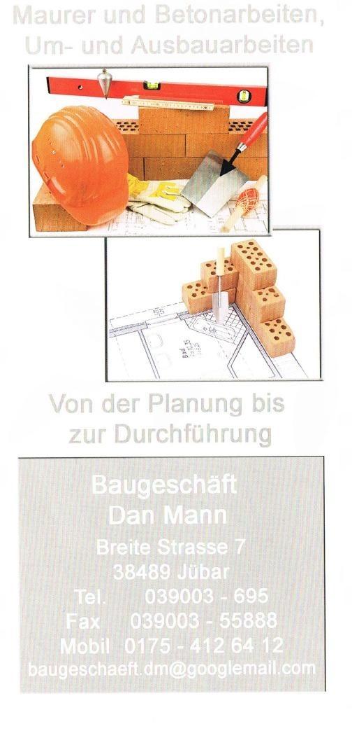 Flyer Baugeschäft Dan Mann