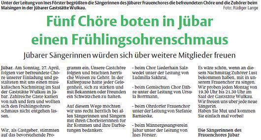 Frühlingssingen 2014. Text und Foto Rüdiger Lange