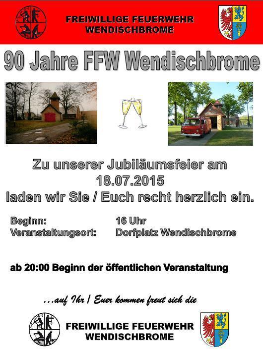 - Wendischbrome - FFW-WB - Einladung 90 Jahre Wehr