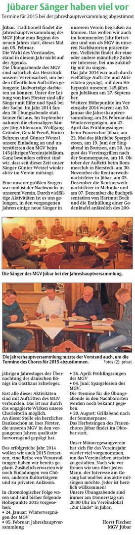 20150304 Findling - Jübar - Männergesangverein Termine