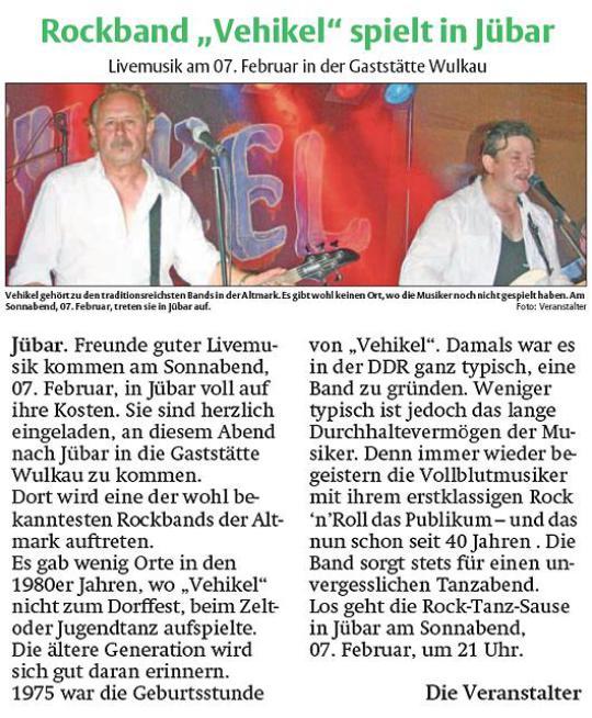 """- Rockband """"Vehikel"""" spielt in Jübar - am 07. Februar in der Gaststätte Wulkau, der Kastanie -"""