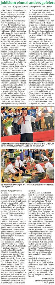 20141203 Findling - Jübar - 145 Jahre MGV Jübar: Fest mit Schuhplattlern und Shantys