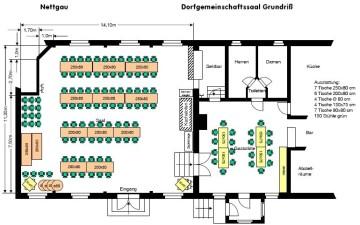 Grundriss des Nettgauer Dorfgemeinschaftsaales