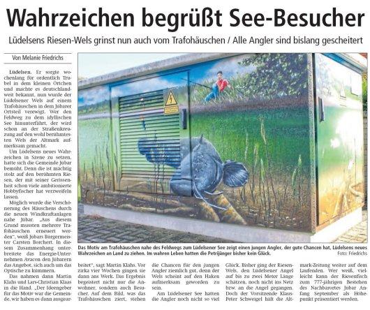 20170805 Lüdelsen - Altmark Zeitung - Wahrzeichen begrüßt See-Besucher (von Melanie Friedrichs)