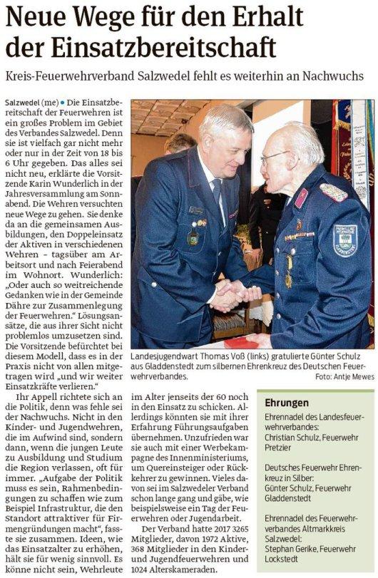 20180205 Altmark Zeitung - Ehrenkreuz für Günter Schulz