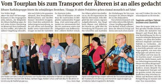 20180512 Volksstimme - Jübar - 10 Jahre Radfahrgruppe - von Walter Mogh