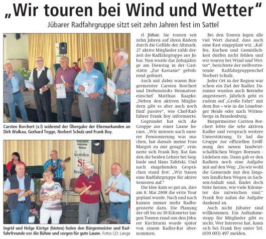 20180514 Altmarkzeitung - Jübar - 10 Jahre Radfahrgruppe - von Rüdiger Lange