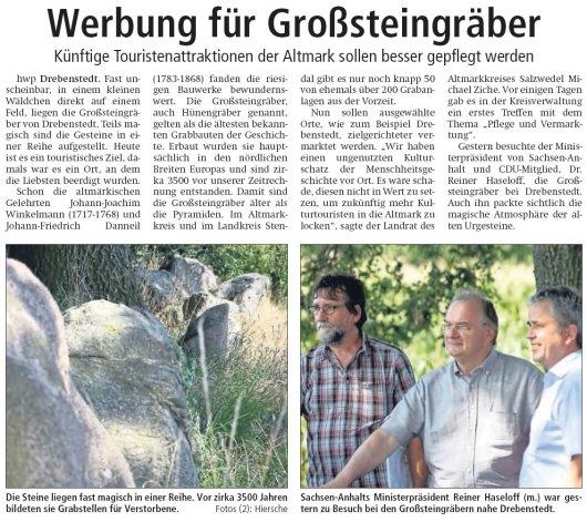 20180803 Altmark Zeitung - Drebenstedt Großsteingrab (von hwp)