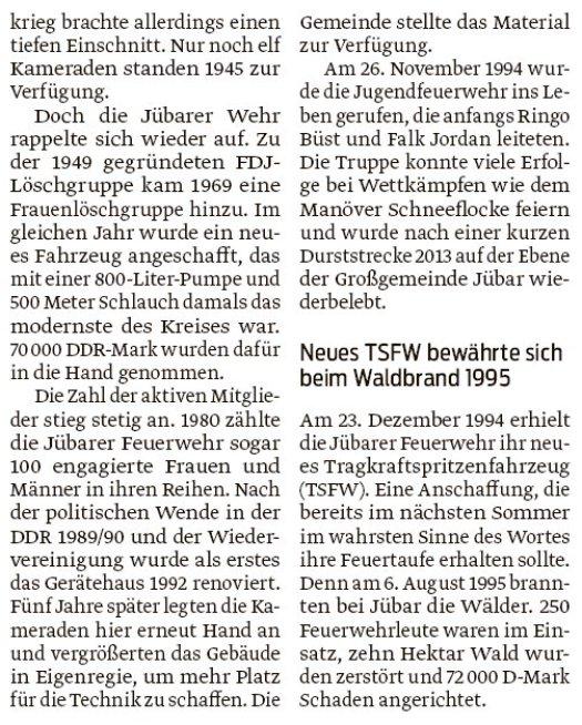 20180905 Volksstimme - Jübar - FFW 90 Jahre von Walter Mogk