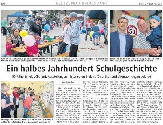 20180910 Altmark Zeitung - Jübar - 50 Jahre Schule Jübar von Kai Zuber