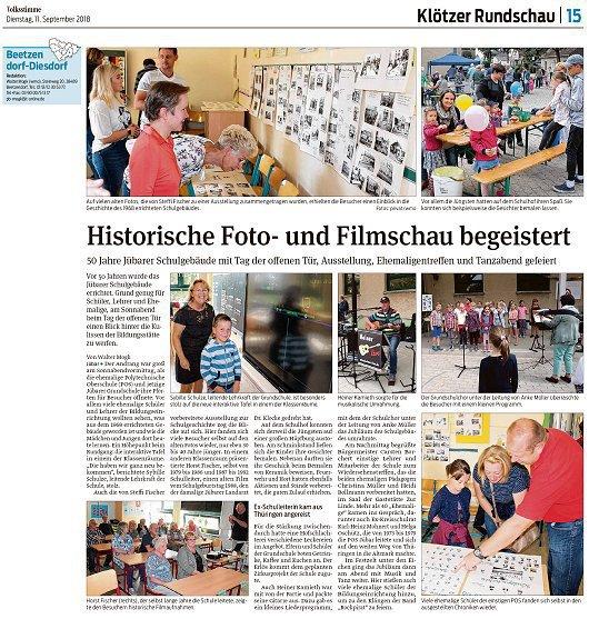 20180911 Volksstimme - Jübar - 50 Jahre Schulfest (von Walter Mogk)