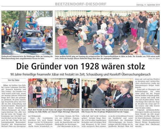 20180911 Altmark Zeitung - Jübar - FFW 90 Jahre (von Kai Zuber)