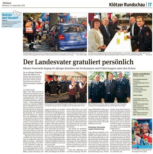 20180912 Volksstimme - Jübar - FFW 90 Jahre - Landesvater gratuliert (von Walter Mogk)