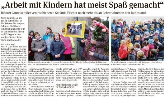 20181107 Volksstimme - Jübar - Grundschüler verabschiedeten Stefanie Fischer (von Walter Mogk)