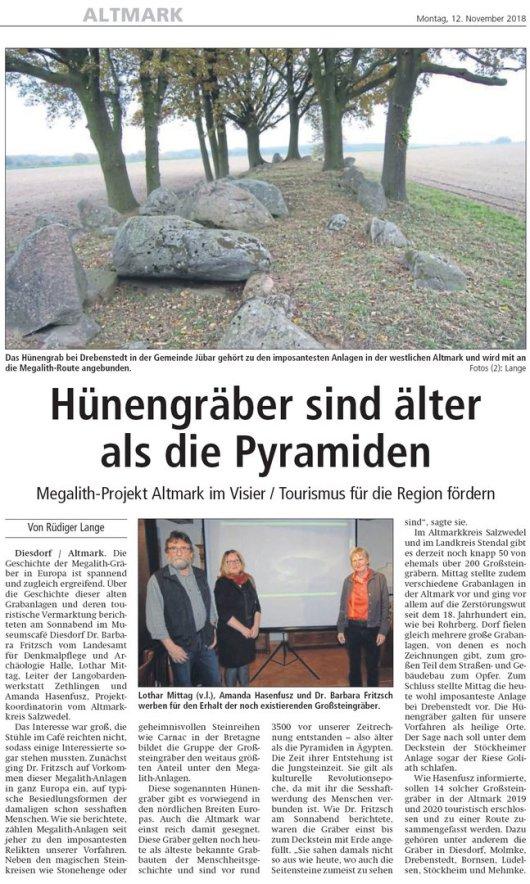 20181112 Altmark Zeitung - Drebenstedt Hünengräber älter als Pyramiden (von Rüdiger Lange)