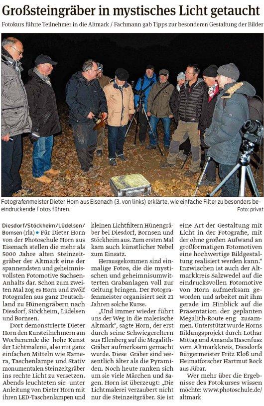 20181120 Volksstimme - Bornsen-Lüdelsen - Großsteingräber im Fotolicht (von rla)