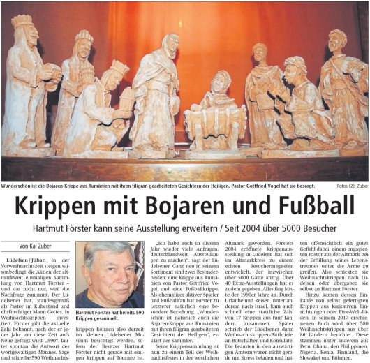 20181123 Altmark Zeitung - Hartmut Förster Krippenausstellung (Von Kai Zuber)