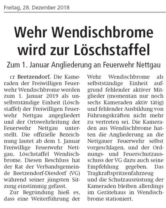 20181228 Altmark Zeitung - Wendischbrome - Wehr wird zur Löschstaffel (von Christian Reuter)