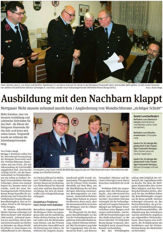 20190123 Volksstimme - Nettgau - Jahreshauptversammlung der Freiwilligen Feuerwehr (von Walter Mogk)