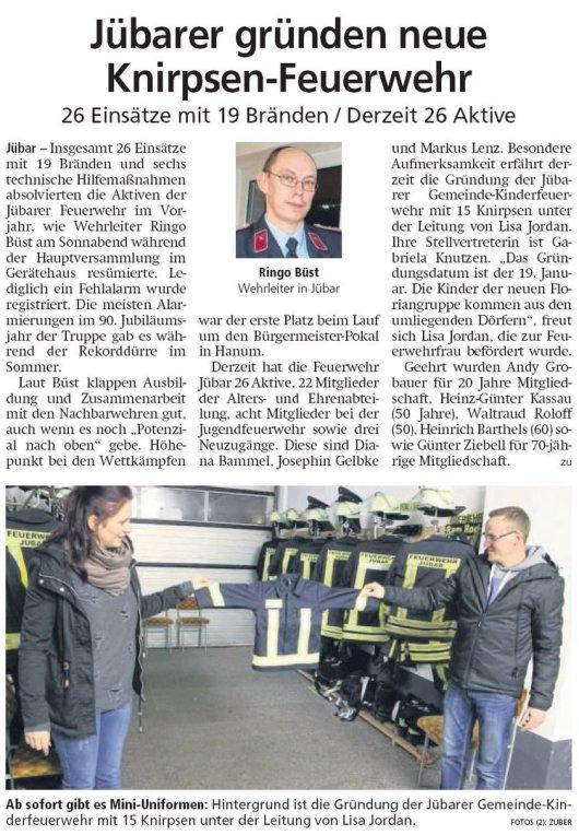 20190128 Altmark Zeitung - Gemeinde Jübar - Jübarer gründen neue Knirpsen-Feuerwehr (von Kai Zuber)
