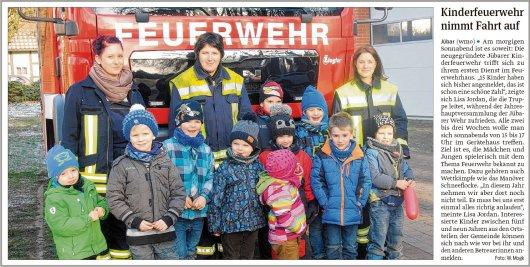 20190201 Volksstimme - Gemeinde Jübar - Kinderfeuerwehr zum ersten Dienst (von Walter Mogk)