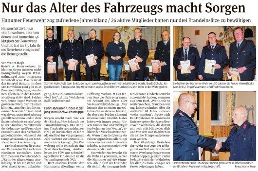 20190211 Volksstimme - Hanum - Feuerwehr zog Jahresbilanz 2018 (von Walter Mogk)