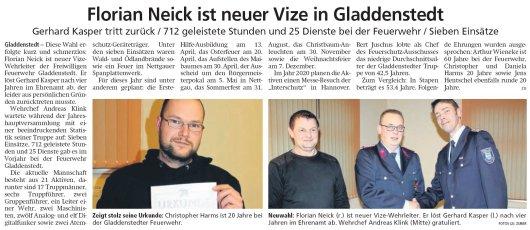 20190211 Altmark Zeitung - Gladdenstedt - Florian Neick ist neuer FFW-Vize (von Kai Zuber)