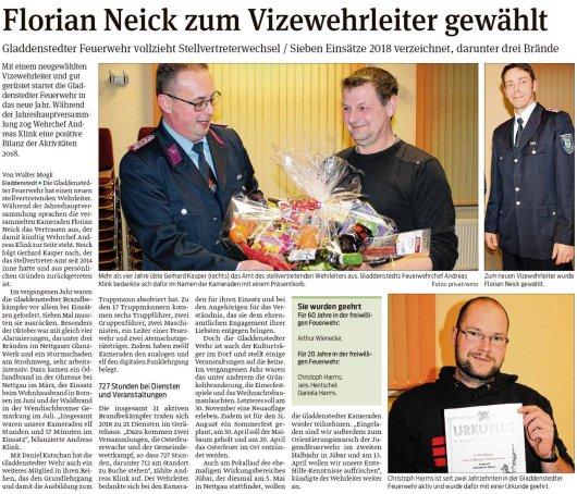 20190214 Volksstimme - Gladdenstedt - Florian Neick ist neuer FFW-Vize (von Walter Mogk)