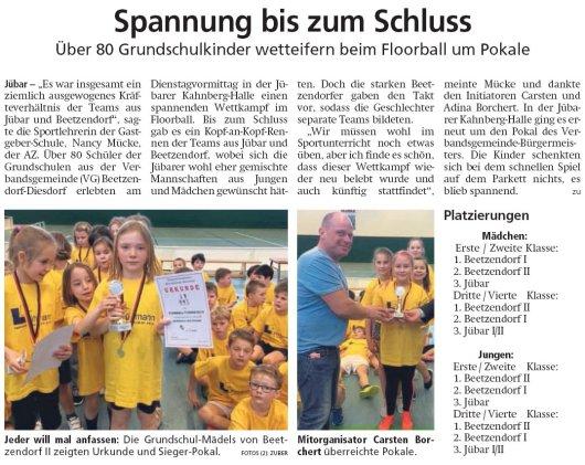 20190228 Altmark Zeitung - Jübar - Floorball der Grundschulkinder in der Kahnberg-Halle (von Kai Zuber)