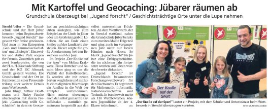 20190302 Altmark Zeitung - Jübar - Grundschule überzeugt bei 'Jugend forscht' (von acu)
