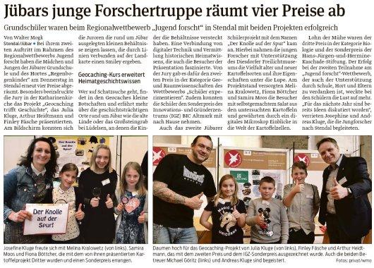 20190302 Volksstimme - Jübar - Forschertruppe räumt vier Preise ab (von Walter Mogk)
