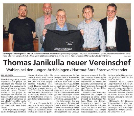20190304 Altmark Zeitung - Jübar - Junge Archäologen - Thomas Janikulla neuer Vereinschef (von Kai Zuber)