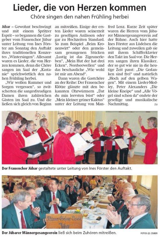 20190305 Altmark Zeitung - Jübar - Frauenchor - Chöre singen den nahen Frühling herbei (von Kai Zuber)