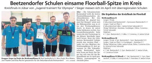 20190308 Altmark Zeitung - Jübar - Floorball-Spitze des Kreises in der Kahnberg-Halle (von J. Heymann)