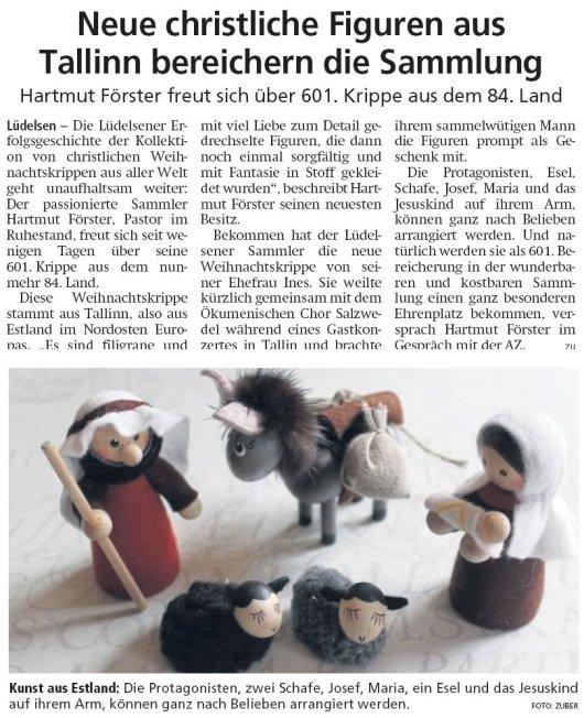 20190311 Altmark Zeitung - Lüdelsen - 601. Krippe aus 84. Land (von Kai Zuber)