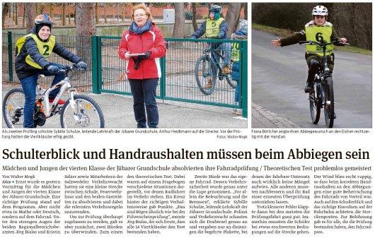 20190314 Volksstimme - Jübar - Grundschule - 4. Klasse absolvierte Fahrradprüfung (von Walter Mogk)