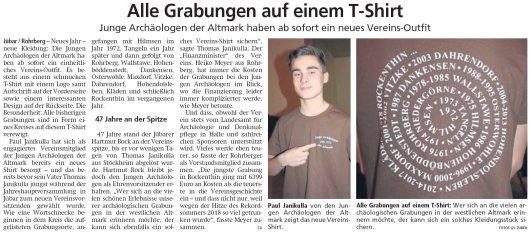 20190321 Altmark Zeitung - Jübar - Junge Archäologen - Grabungs-T-Shirt als neues Vereins-Outfit (von Kai Zuber)