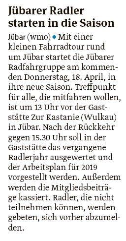 20190415 Volksstimme - Jübar - Start in die neue Saison am Donnerstag (von Walter Mogk)