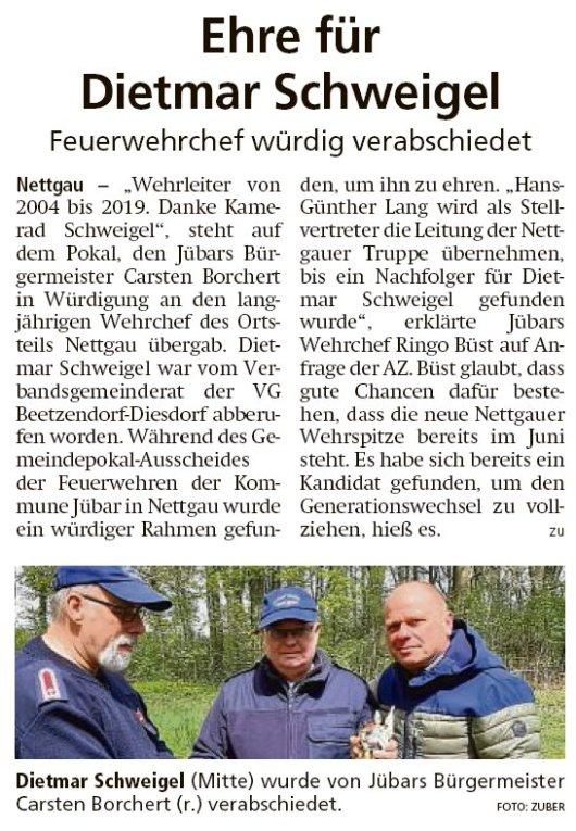 20190514 Altmark Zeitung - Nettgau - FFW-Chef Dietmar Schweigel verabschiedet (Kai Zuber)