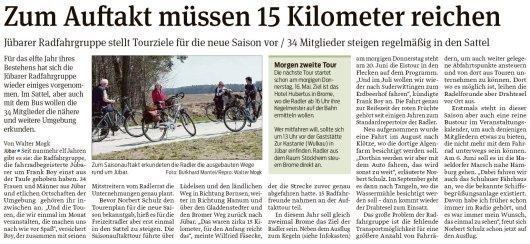 20190515 Volksstimme - Jübar - Jübarer Radfahrgruppe stellt Tourziele für die neue Saison vor (Walter Mogk)