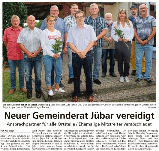 20190706 Altmark Zeitung - Gemeinde Jübar - Neuer Gemeinderat Jübar vereidigt (Kai Zuber)